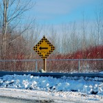 """Turn Left"" sign in the Port Lands, Toronto 2011-01-09"
