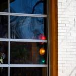 Streetlights inside The T-Shirt Guys Plan B Coffee on Logan Avenue, Toronto 2011-03-28