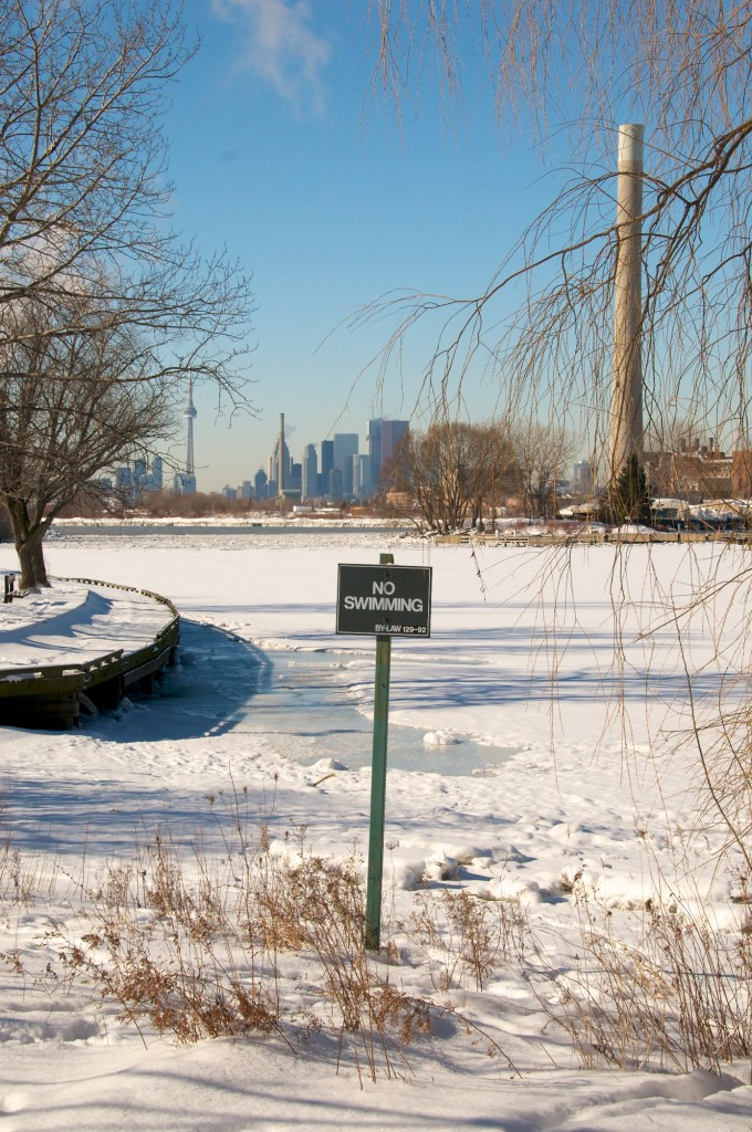 """No Swimming"" sign in Ashbridge's Bay Park, Toronto 2011-02-03"