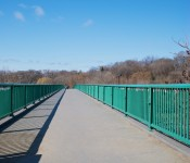 Pedestrian overpass with viridian guardrails in Riverdale Park, Toronto 2011-03-19
