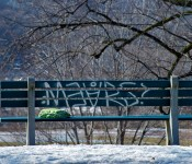 Bag on a bench in Riverdale Park, Toronto 2011-03-01