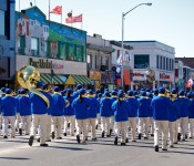 Back view of a band in the Greek Independence Parade on Danforth Avenue, Toronto 2011-03-27