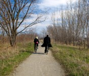 Two cycists in Tommy Thompson Park, Toronto 2011-04-30