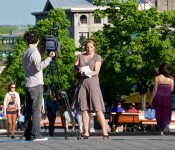CTV News crew on Place Jacques Cartier, Montréal 2001-05-30