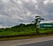 GO Train along Eastbound Gardiner Expressway, Toronto