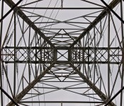 Upward perspective through an electrical tower along Lakeshore Boulevard East, Toronto 2011-06-25