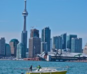 Cityscape viewed from Polson Pier, Toronto 2011-04-23