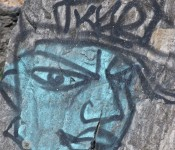 Face drawn on stone, Ashbridge's Bay Park, Toronto 2011-09-09