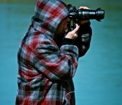 Photographer in Ashbridge's Bay Park, Toronto 2011-03-15