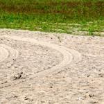 Tire tracks in the sand, Ashbridge's Bay Park in Toronto 2011-09-09