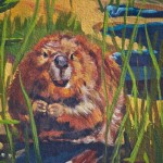 """Close-up of beaver in the mural """"La Fresque de l'Épicerie du Village"""", Pointe-Claire 2012-03-11"""