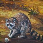 """Close-up of raccoon in the mural """"La Fresque de l'Épicerie du Village"""", Pointe-Claire 2012-03-11"""