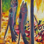 "Close-up of fish being smoked in the mural ""La Fresque de l'Épicerie du Village"", Pointe-Claire 2012-03-11"