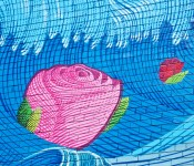 Close-up of roses in a large mural on McCaul Street, Toronto 2011-10-04