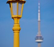 Street lamp and CN Tower, Polson Pier, Toronto