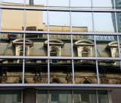 Reflection of the Irish Embassy Pub across Wellington Street East, Toronto 2010-10-30
