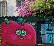 Mural of an apple in Barrio Bellavista in Santiago, Chile 2010-12-17