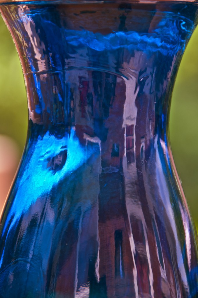 Reflections in a blue glass bottle, Dorval 2012-06-24