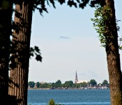Pointe-Claire appearing across the Baie-de-Valois from Dorval 2012-07-20