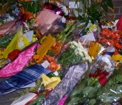 Impromptu memorial and sympathy flowers for Jack Layton, Toronto 2011-08-22