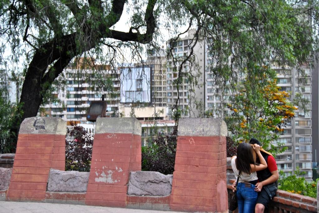 Couple taking a moment, Cerro Santa Lucia, Santiago, Chile 2012-11-30