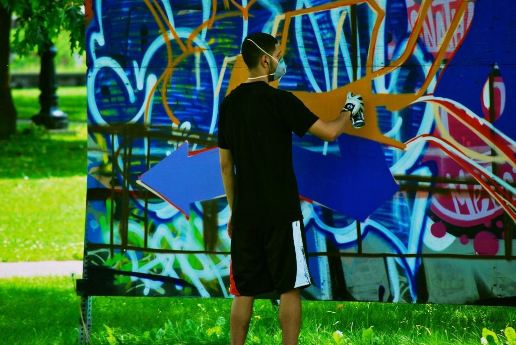 Painting Graffiti in Dorval